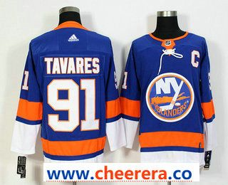5b13bb04011 Men's New York Islanders #91 John Tavares Blue With C Patch Home 2017-2018  Hockey Stitched NHL Jersey