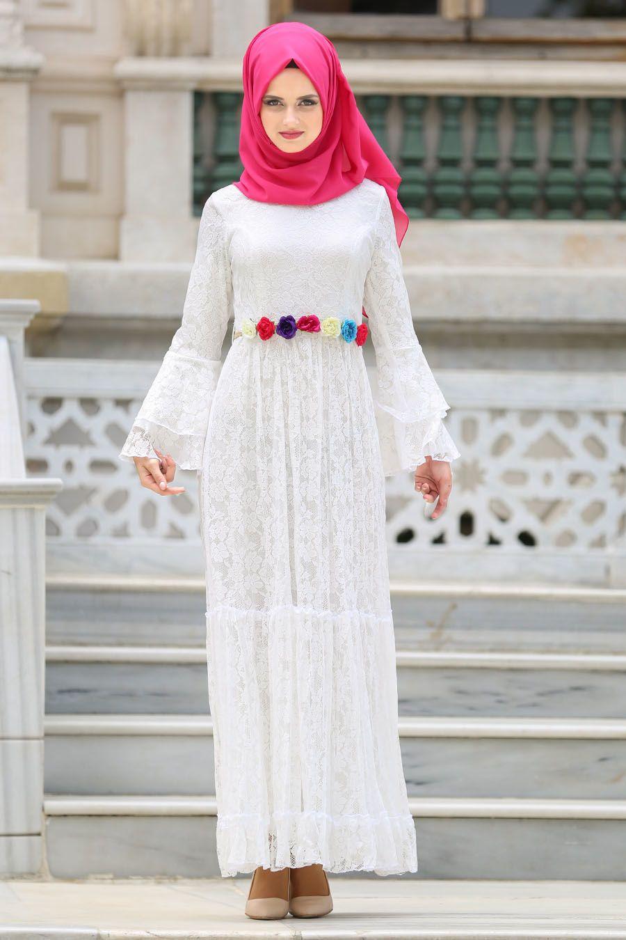 Tesettur Dantelli Beyaz Elbise Modelleri Moda Stilleri Elbise Modelleri Elbise