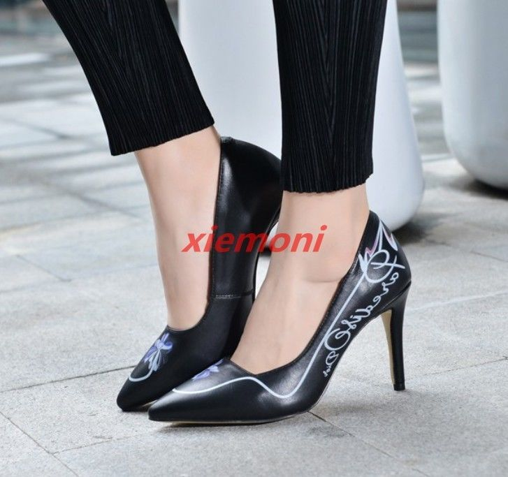 Elegant Women Pumps Sandals High Heel Pointy Toe Floral Slip On Casual Party