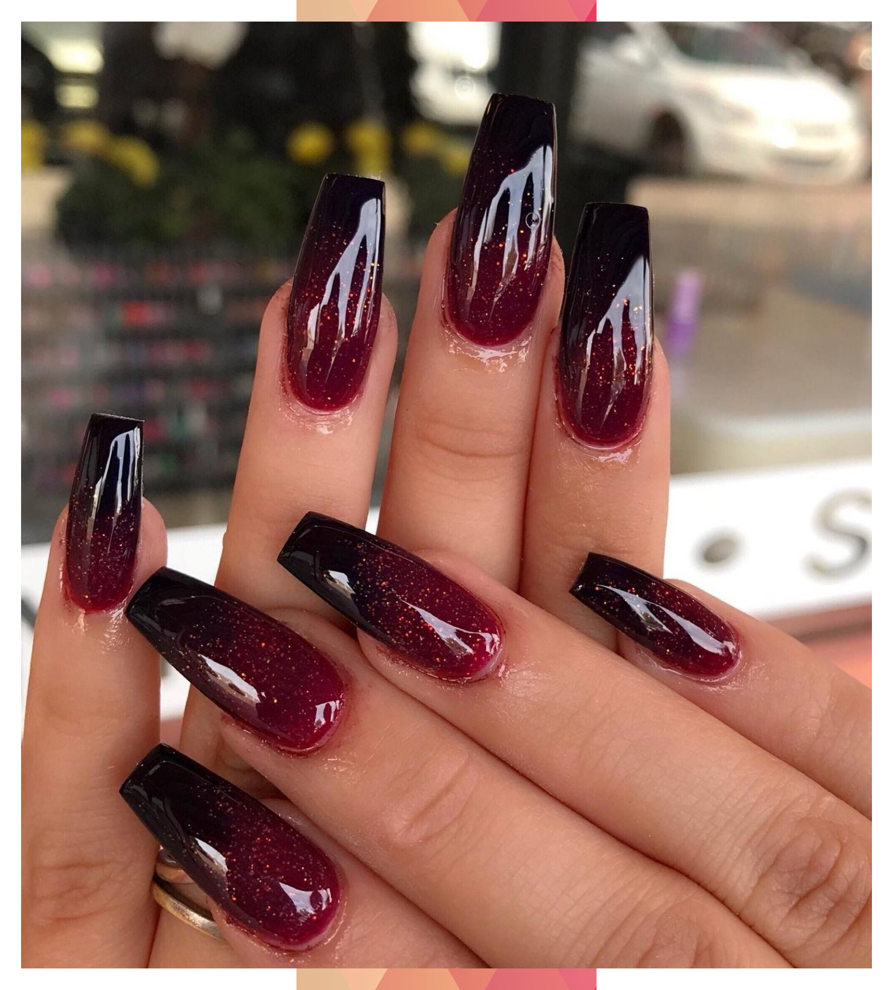 Red And Black Ombre Coffin Nails Black Coffin Nails Ombre Red In 2020 Black Ombre Nails Red Ombre Nails Ombre Nails Glitter