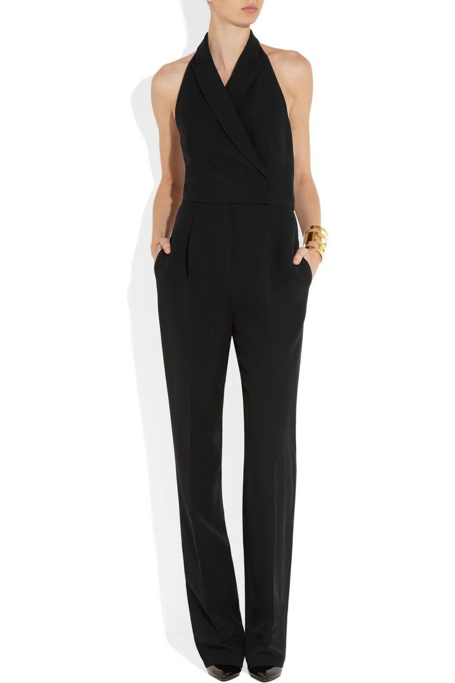 Combi-pantalon en soie et laine mélangées signée Valentino Elle s inspire  de la coupe smoking. Le dos-nu apporte une touche de féminité à ce modèle  ... 5a7224912749