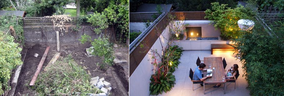 modern garden terrace design in fulham south london before during and after 4 years