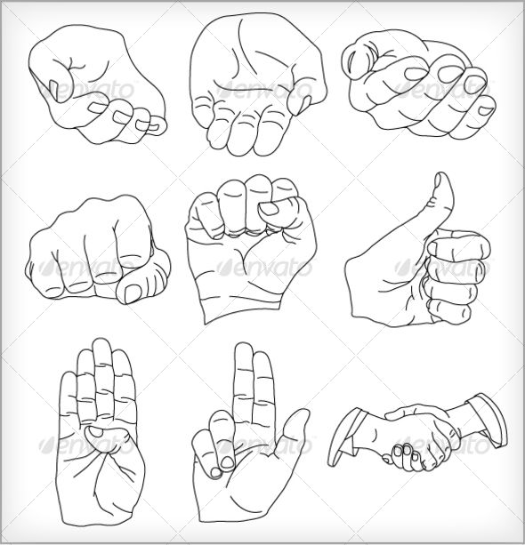 9 Vector Hands Illustrations — JPG Image #fight #peace • Available here → https://graphicriver.net/item/9-vector-hands-illustrations/64429?ref=pxcr
