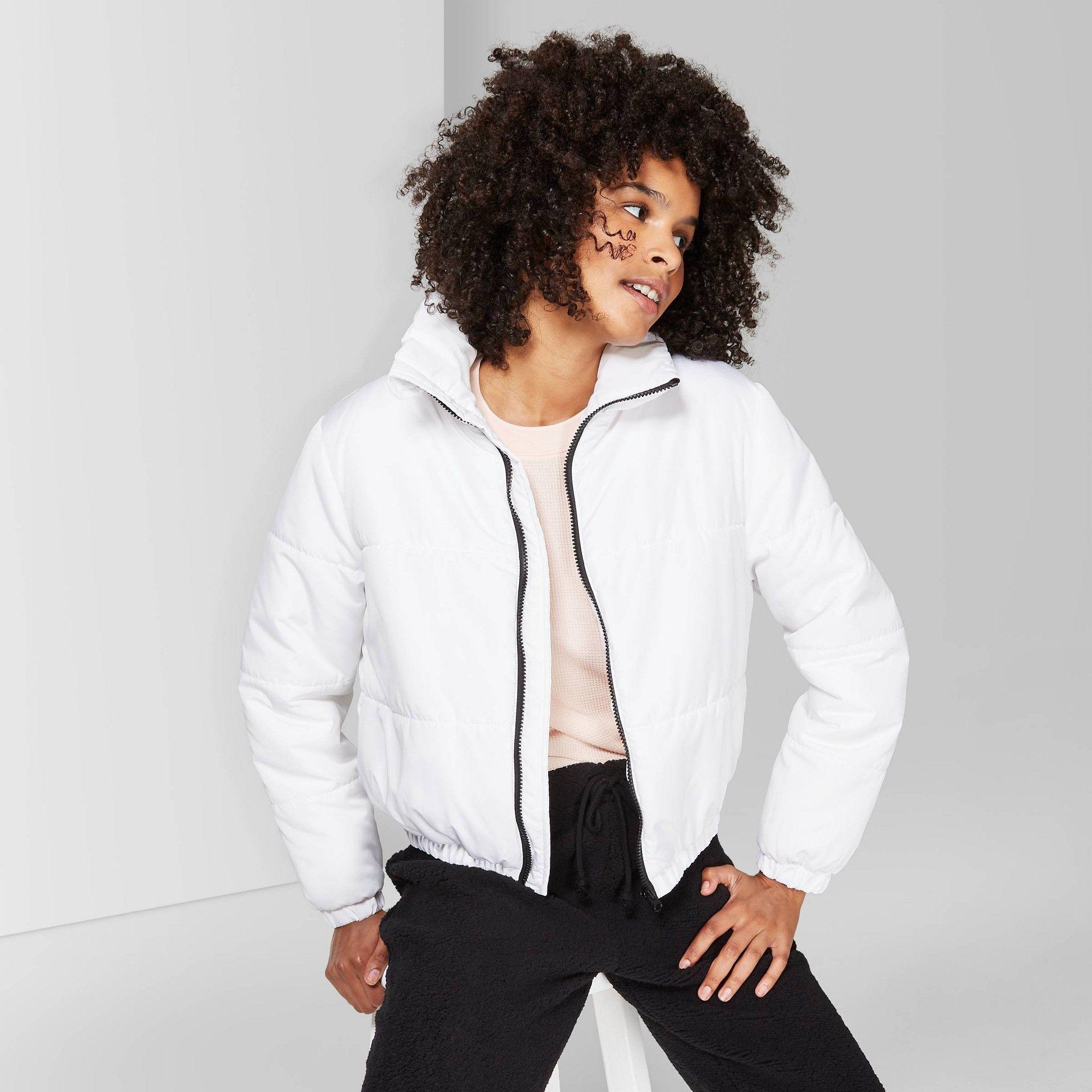 Women S Long Sleeve Zip Up Puffer Jacket Wild Fable White S Size Small Windbreaker Jacket Women Women Long Sleeve Puffer Jackets [ 2000 x 2000 Pixel ]