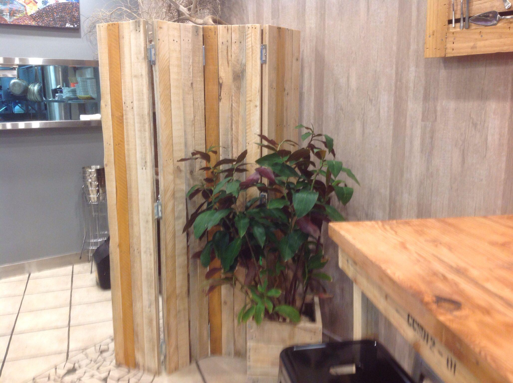 Rustic screen divider custom made for De Ja Vu Cafe Bar