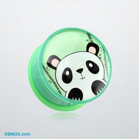 Panda the China Single Flared Ear Gauge Plug #piercing #eargauge #plugs #jewelry #fashion #bodyjewelry