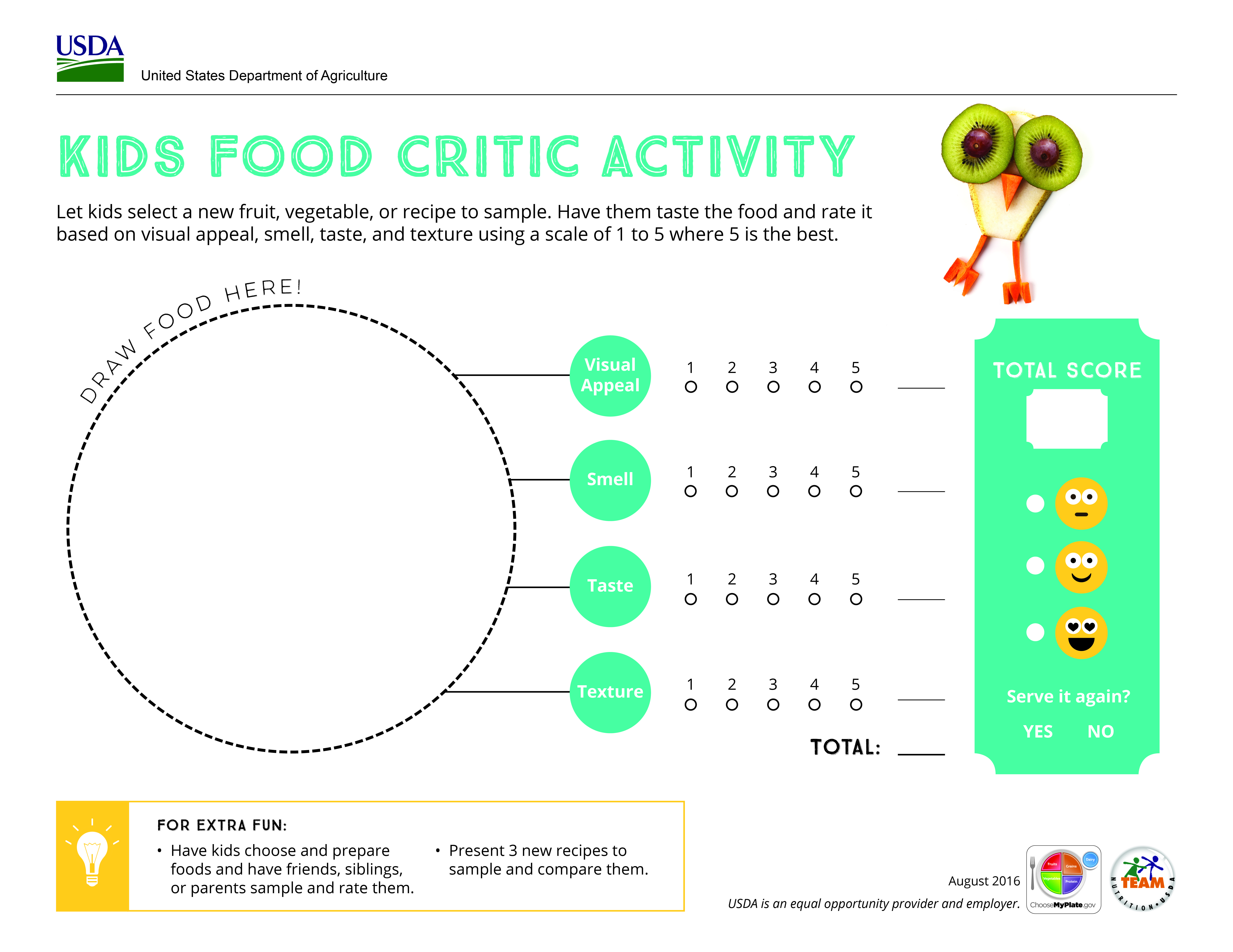 Introduce kids to new flavors with this myplate food critic introduce kids to new flavors with this myplate food critic activity parents printables pooptronica