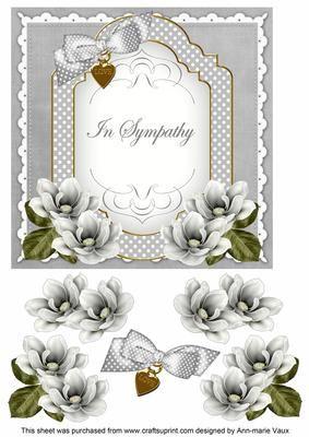 Silver Magnolia in Sympathy Fancy 7in Decoupage Topper