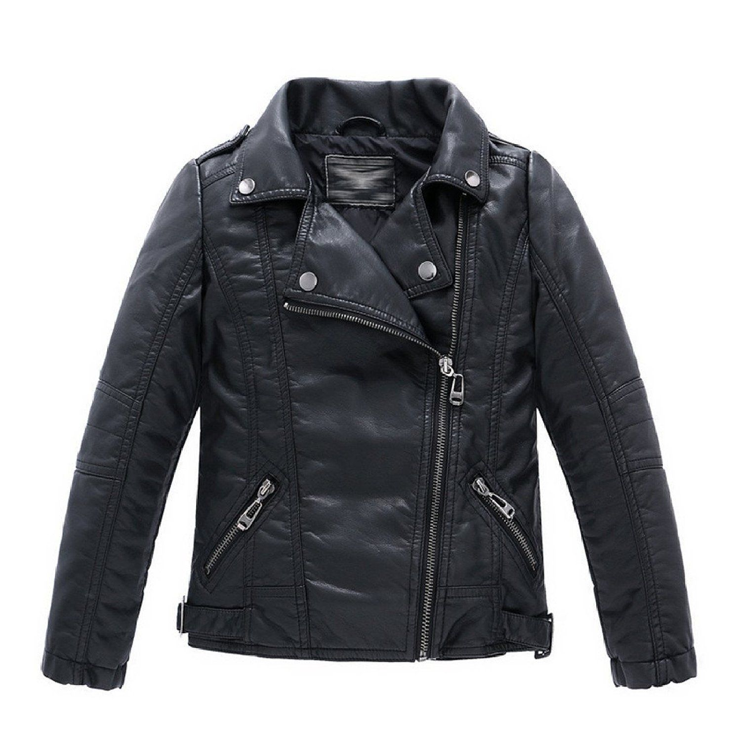 a9b816a9e Boys Collar Motorcycle Faux Leather Coat Zip Leather Jacket (3-4T ...