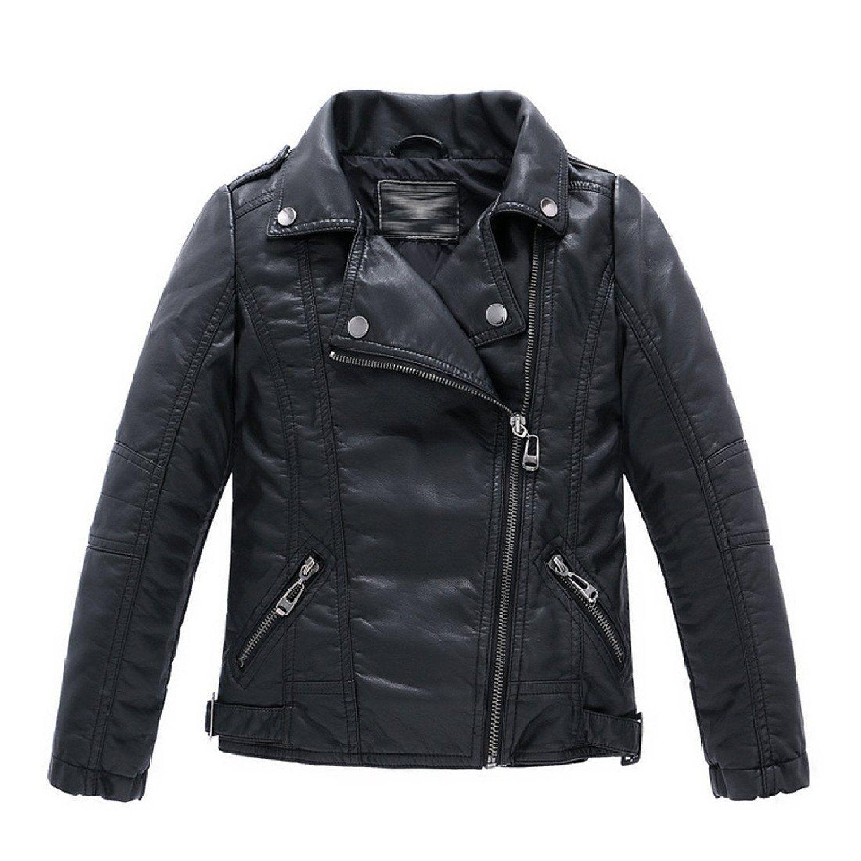 27810d18ec85 Boys Collar Motorcycle Faux Leather Coat Zip Leather Jacket (3-4T ...