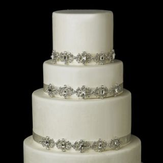 """Sold Individually For Decoration Purposes Only  Elegant antique silver rhinestone vintage ornamentation on silky satin ribbon. A dazzling accessory to add elegance to your cake.  Size: (Ornament) 9'' x 1.5'', (Ribbon) 43"""""""