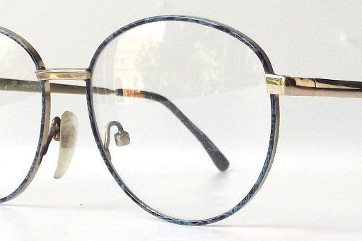 4df67fb66a vintage 80s deadstock blue black round eyeglasses gold plaid metal frame eyewear  retro eye glasses men women unisex classic traditional 170