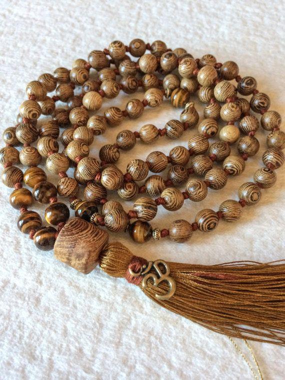 Tiger S Eye Wenge Wood Mala Necklace 108 Mala Beads Buddhist Mala Prayer Beads Yoga Jewelry Meditation Bead Mala Prayer Beads Mala Beads Mala Bead Necklace