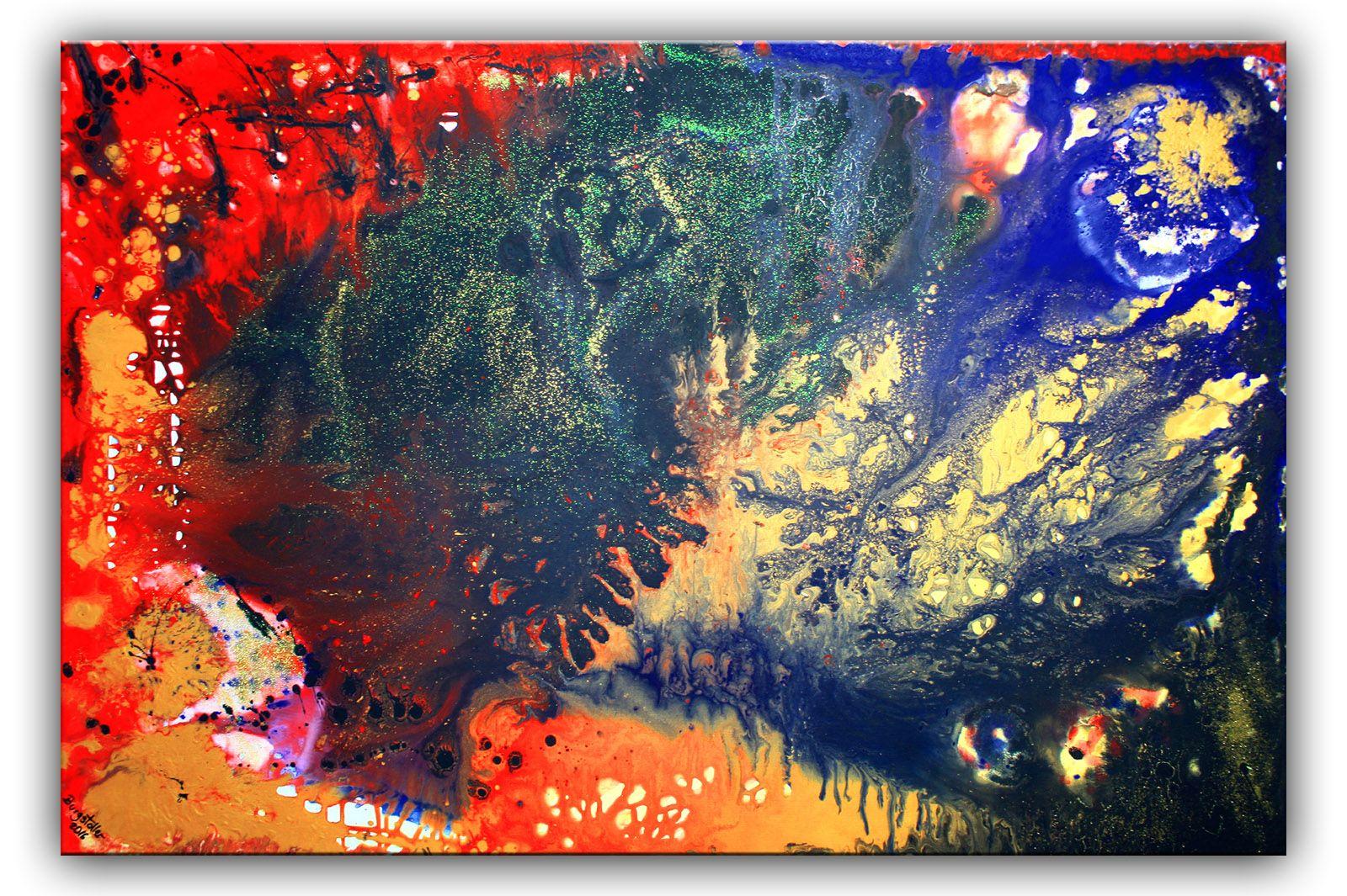 abstrakte Malerei rot gelb blau schwarz - liquid painting ...