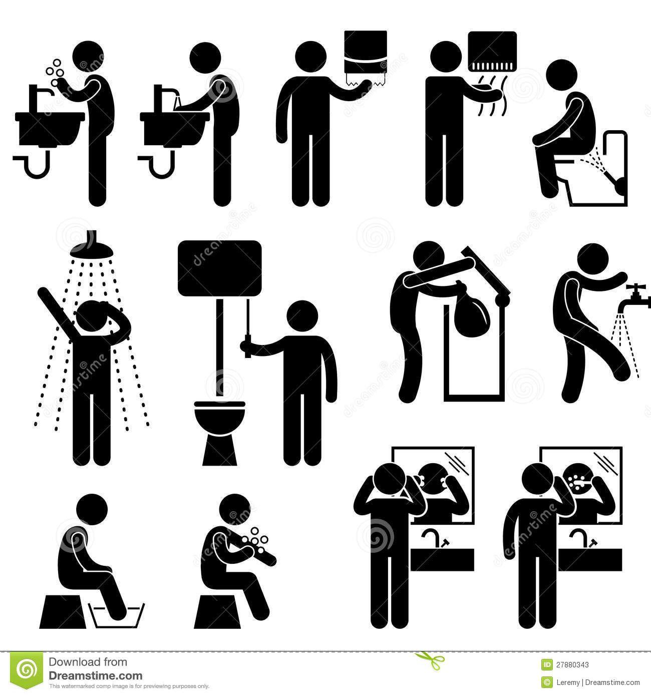 hygi u00e8ne personnelle dans le pictogramme de toilette