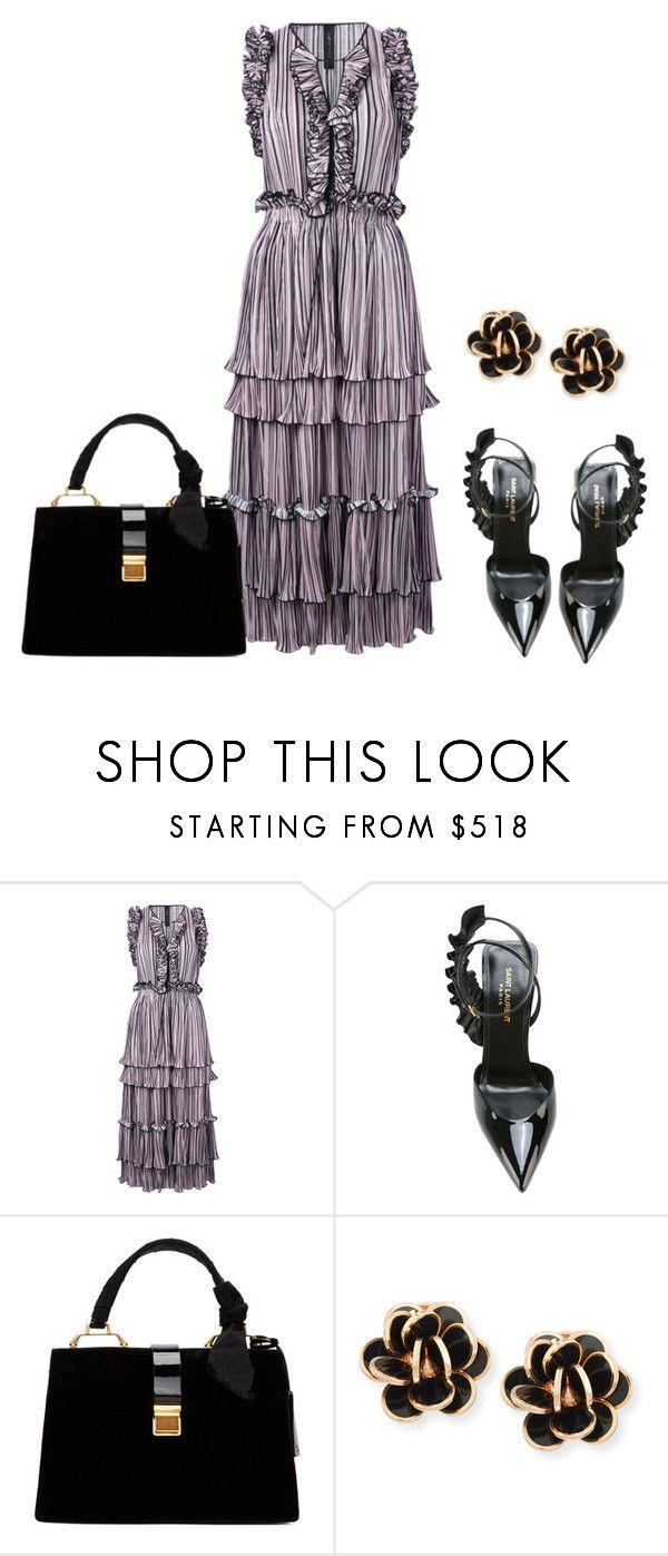 """Posh Frock"" by sjlew ❤ liked on Polyvore featuring Romance Was Born, Yves Saint Laurent, Miu Miu and Chantecler"