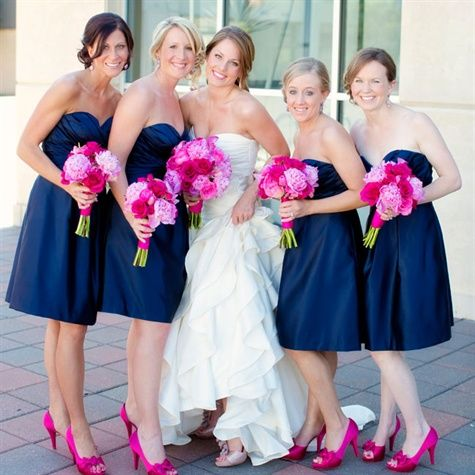 Bridesmaid Bouquets Of Pink And White Peonies Roses With A Hint Green Viburnum Stand Out Against Short Hot Dresses In Candyland