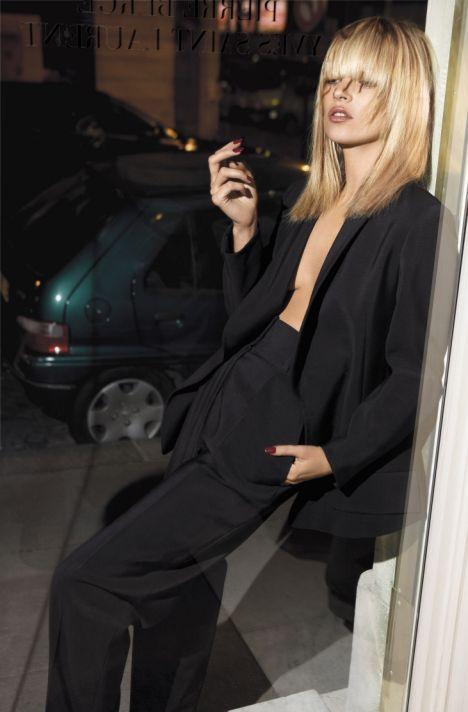 Kate Moss wearing Yves Saint Laurent suit.