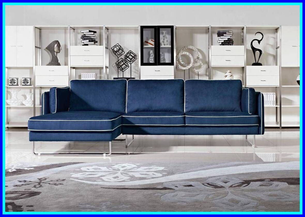 43 Reference Of White Sofa Blue Piping In 2020 Fabric Sectional Sofas Blue Sofa Living Blue Leather Sofa