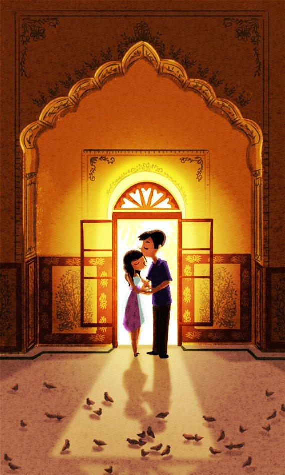 "Diwali Gift, Indian Art Print, Romantic Art, Couples Gift, Love Wall Decor - ""Pyari"""