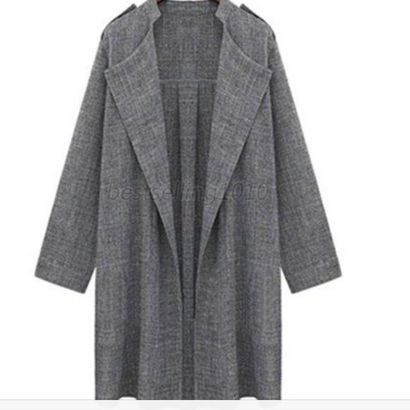 1 DAY SALE Plus size long jacket 2X Long gray jacket. Thin light weight material. 2X Aimei Sweaters Cardigans