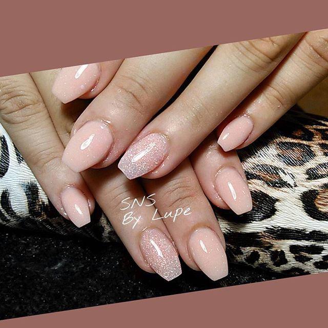 SNS nails (dipping powder) in ballerina shape ! | Fabulous nails ...