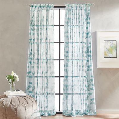 Peri Home Kelly Floral Sheer 63 Rod Pocket Window Curtain Panel