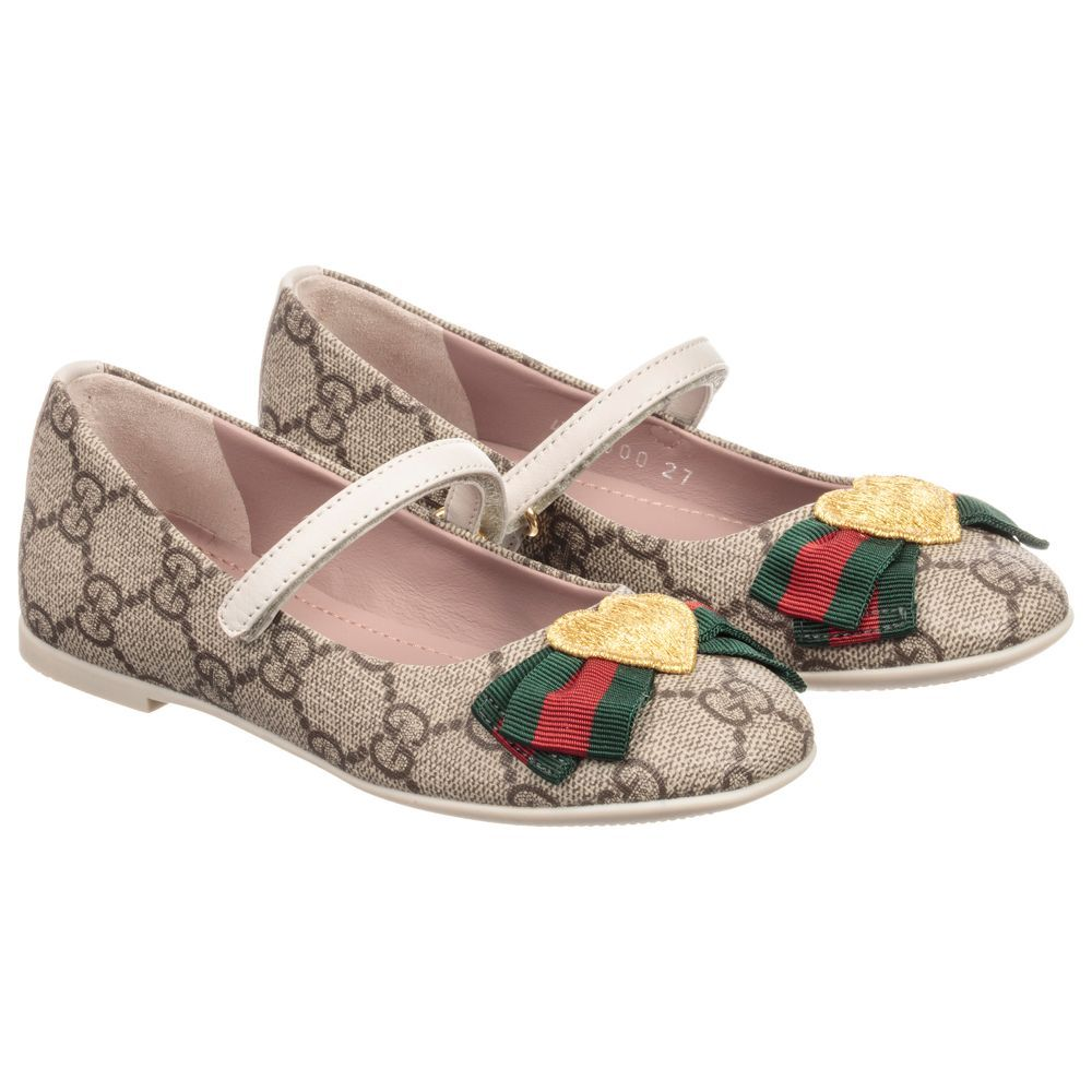 e4211cdbc66 Girls Beige  GG  Supreme Shoes for Girl by Gucci. Discover more beautiful  designer Shoes for kids online