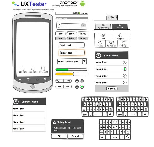 Android GUI Stencils, Kits and Templates Icon font, Mockup and Fonts - copy free blueprint design app