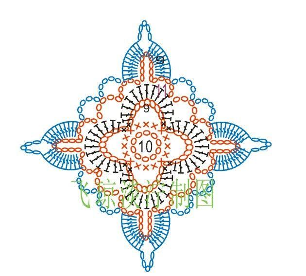 Crochet Motif - Chart ❥ 4U // hf   crochet earring   Croché ...