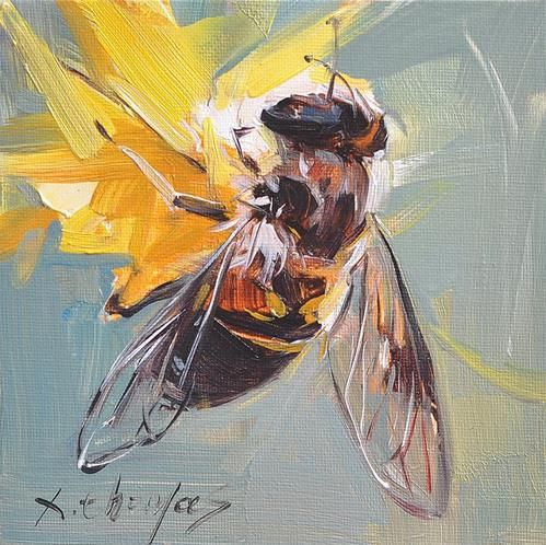 """Daily Paintworks - """"bee"""" - Original Fine Art for Sale - © Thomas Xie"""