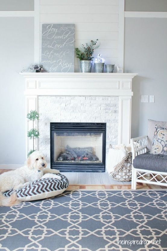 Stacked split face stone on fireplace - from DalTile Arctic Gray 2 ...