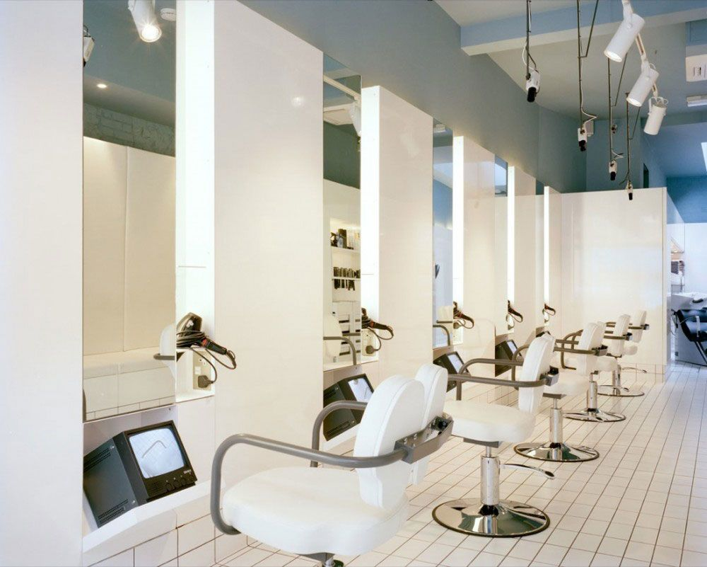 White hair salon chairs - Cool Clean Modern Hair Salons Decosee