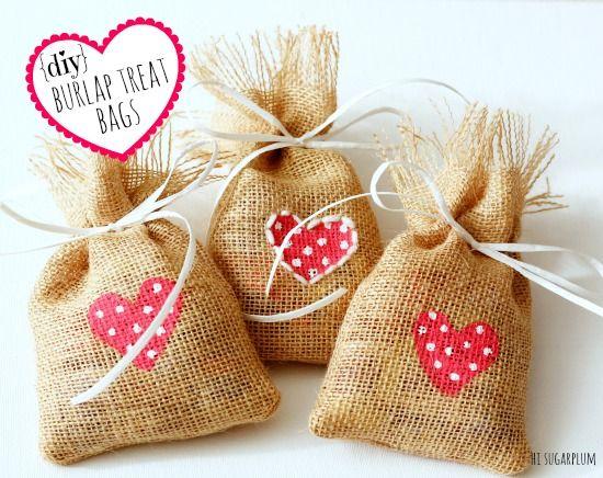 Valentine Burlap Treat Bags