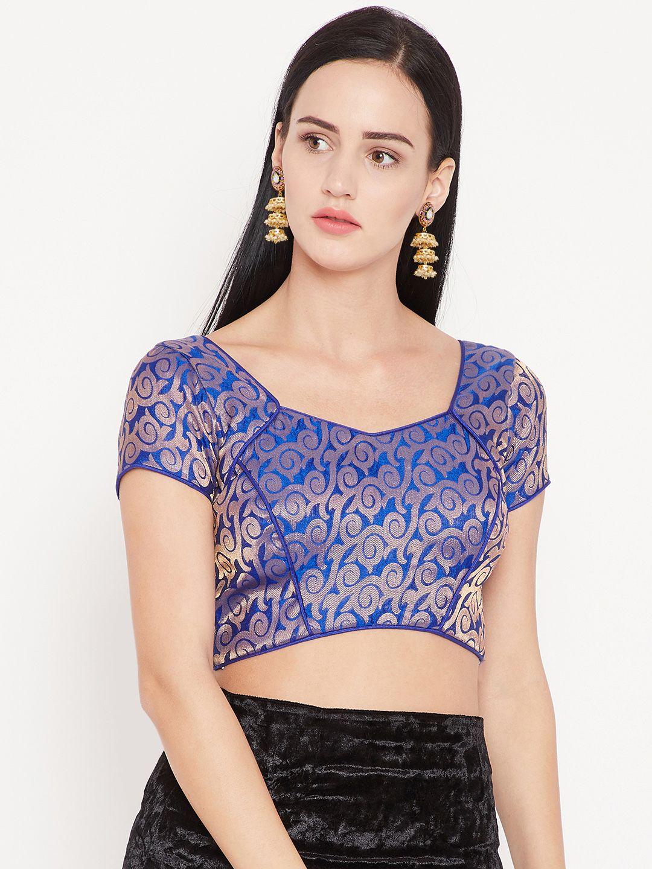 bd8a4c89a73a2 Buy KAANCHIE NANGGIA Blue   Golden Woven Design Saree Blouse - Saree Blouse  for Women 7263498