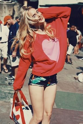 Wildfox Couture Big Heart Over-sized Sweatshirt in Hot Red