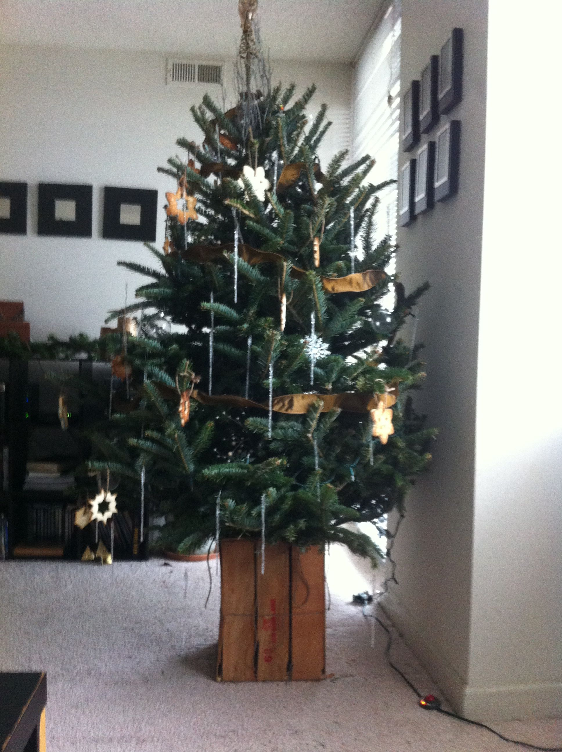 Rustic Homemade Christmas tree stand. Made from a