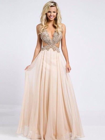 Charming Beading Prom Dress, V neck Prom Dress, Chiffon Prom Dress ...
