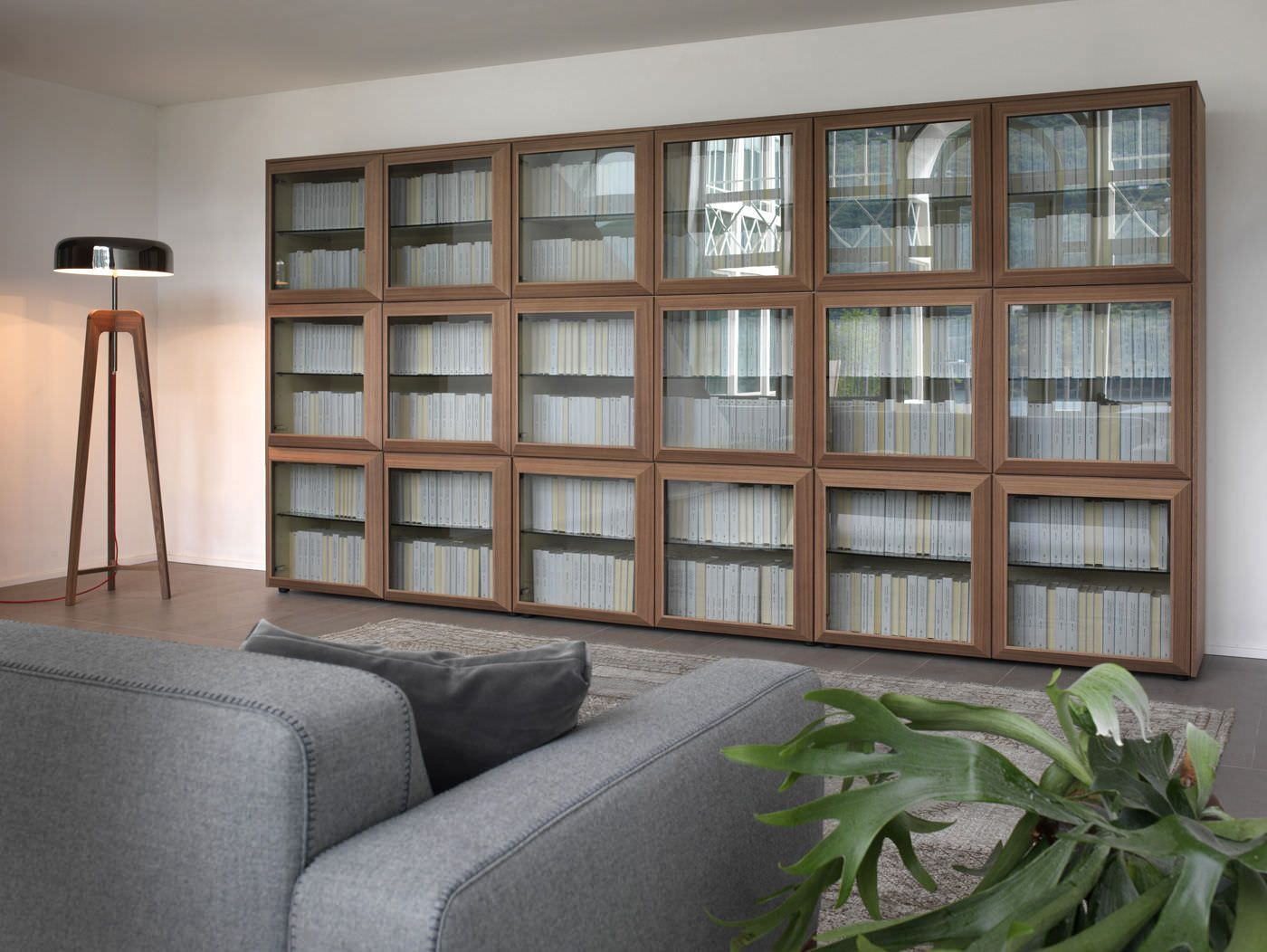 Furniture Modern Interior Glass Doors Spin Bookcase With Glass