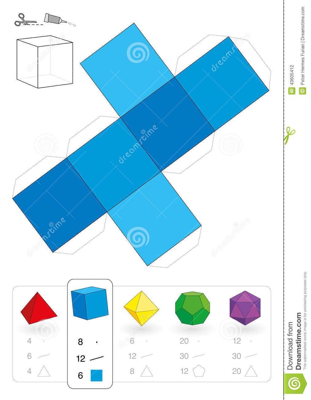 Manualidades Cubo Papel Figuras Geometricas Para Armar Cuerpos