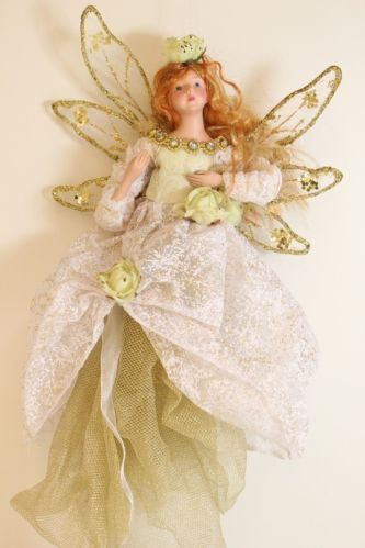 Gold Fairy Ballerina with Butterfly Christmas Ornament Tree Decoration