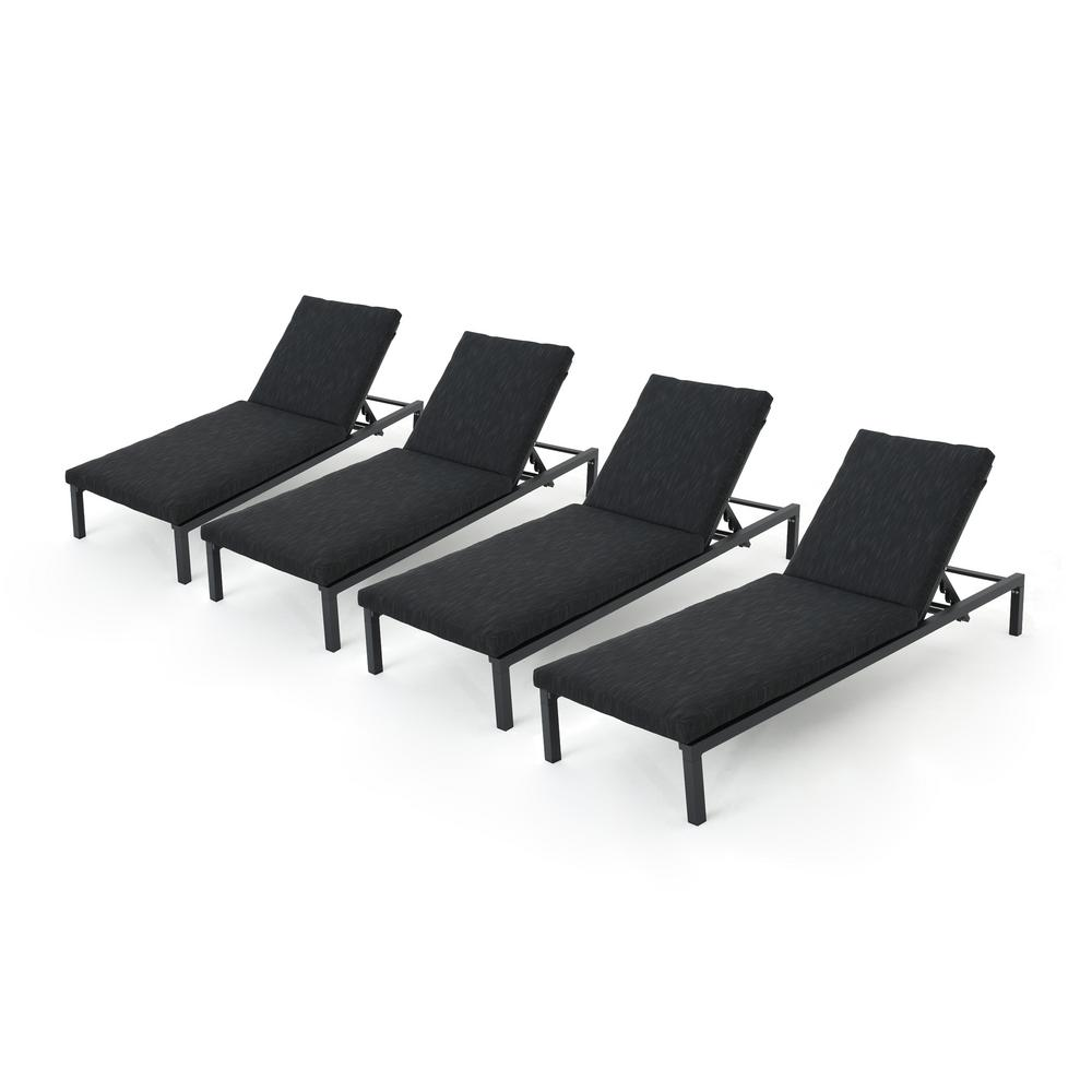 Noble House Jameson Black 4 Piece Metal Outdoor Chaise Lounge With Dark Grey Cushions 66928 The Home Depot In 2020 Outdoor Chaise Lounge Outdoor Chaise Cheap Patio Furniture
