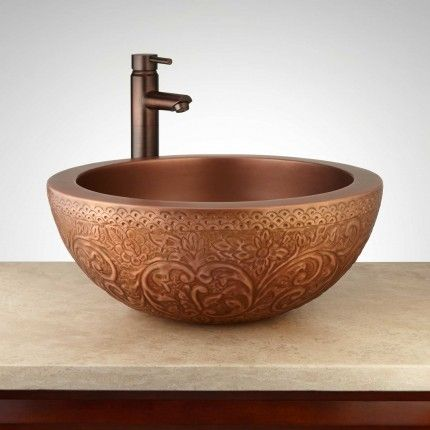 """18"""" Matilda Round Embossed Antique Copper Double Wall Vessel Sink"""