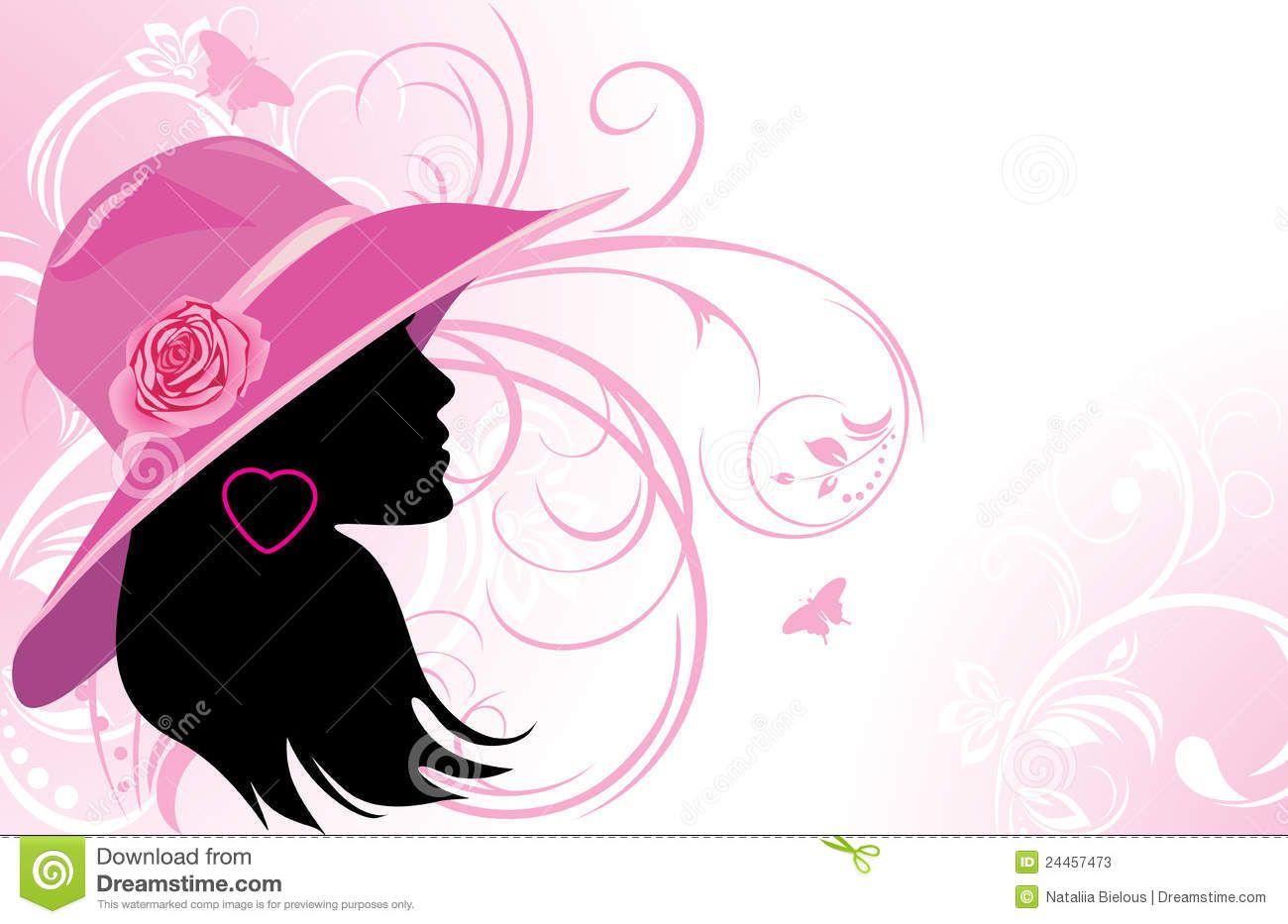 Imagen De Una Silueta De Una Mujer Para Colorear: Silueta Negra De Mujer Con Sombrero Color Rosa.