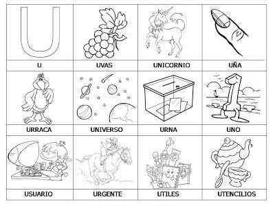 Laminas con dibujos para aprender palabras y colorear con letra: U ...