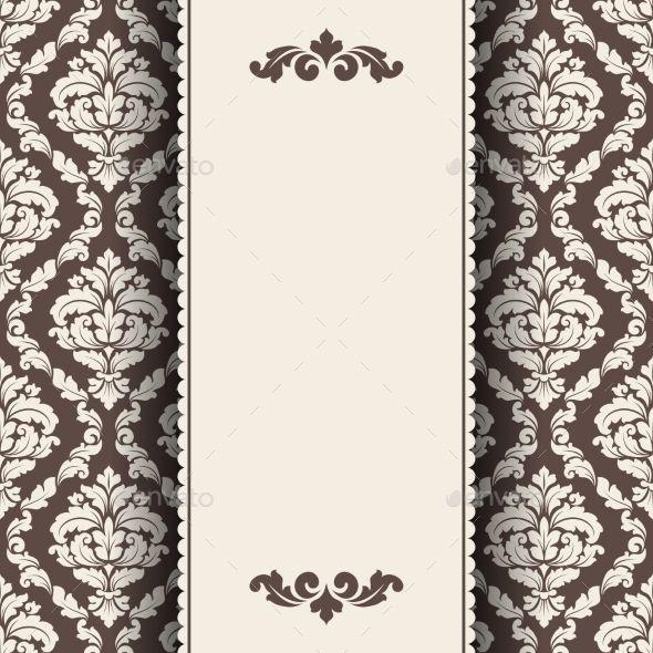Vintage Invitation Card Vector Ornate Damask Background