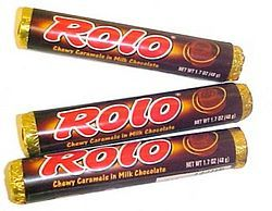 Rolo can be used between Ritz Crackers, or top of Pecan Sandies, or wrapped in a sugar cookie dough, or brownie dough.  Then top with your favorite nuts crumbled or whole. Get creative!