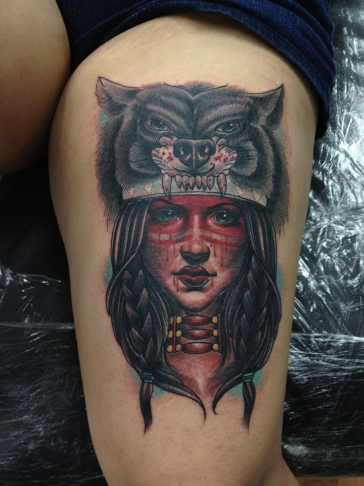 Color Tattoos Pinterest Wolves Legs And Native American Women Tattoos Native American Girl Tattoo Native American Tattoo Style