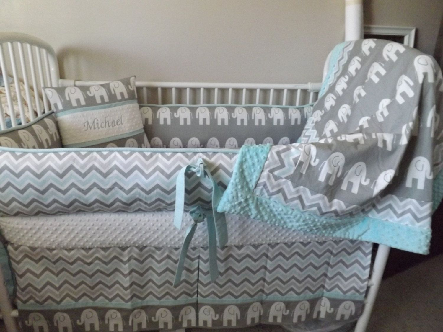 Elephant Gray And Aqua Baby Bedding Crib Set By Abusymother 50 00