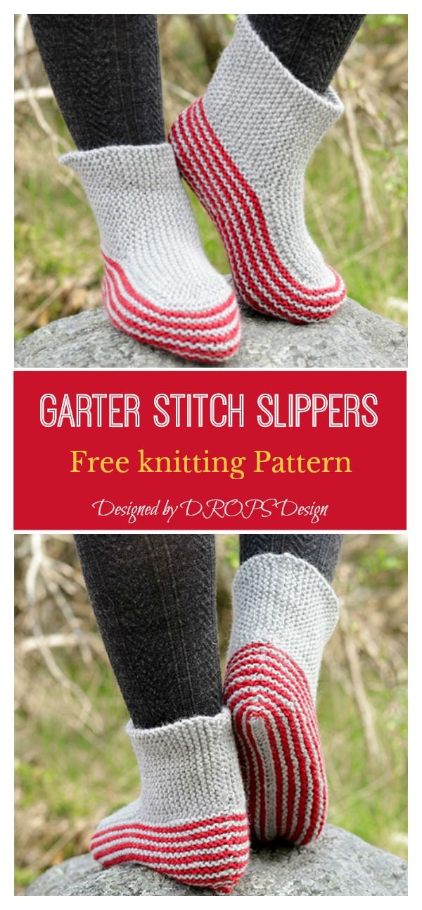 Simple Garter Stitch Slippers Free knitting Pattern (With ...